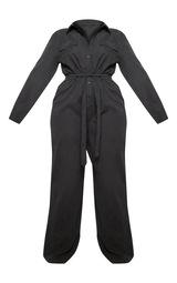 dc7a98e0e53 Plus Black Faux Suede Button Front Wide Leg Jumpsuit image 3