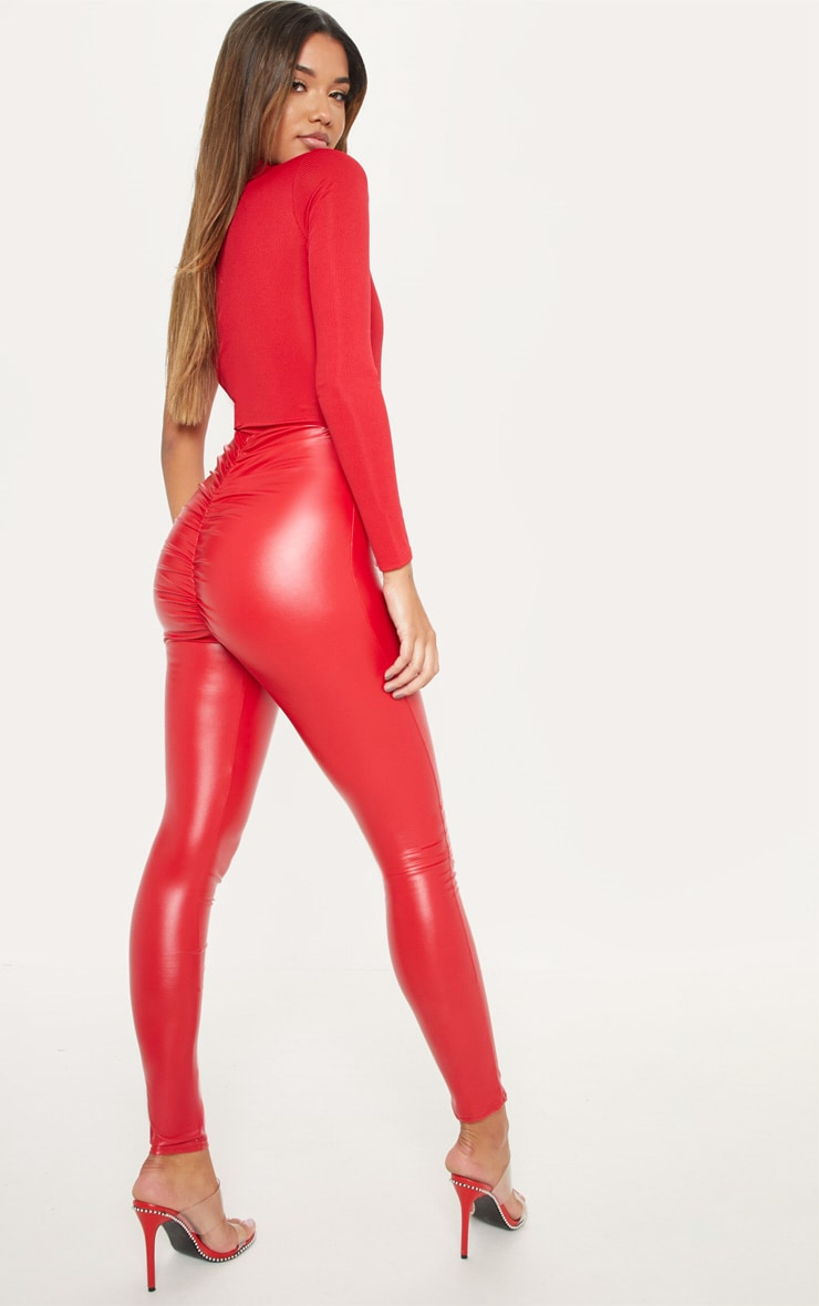 Red Faux Leather Ruched Bum Legging 1
