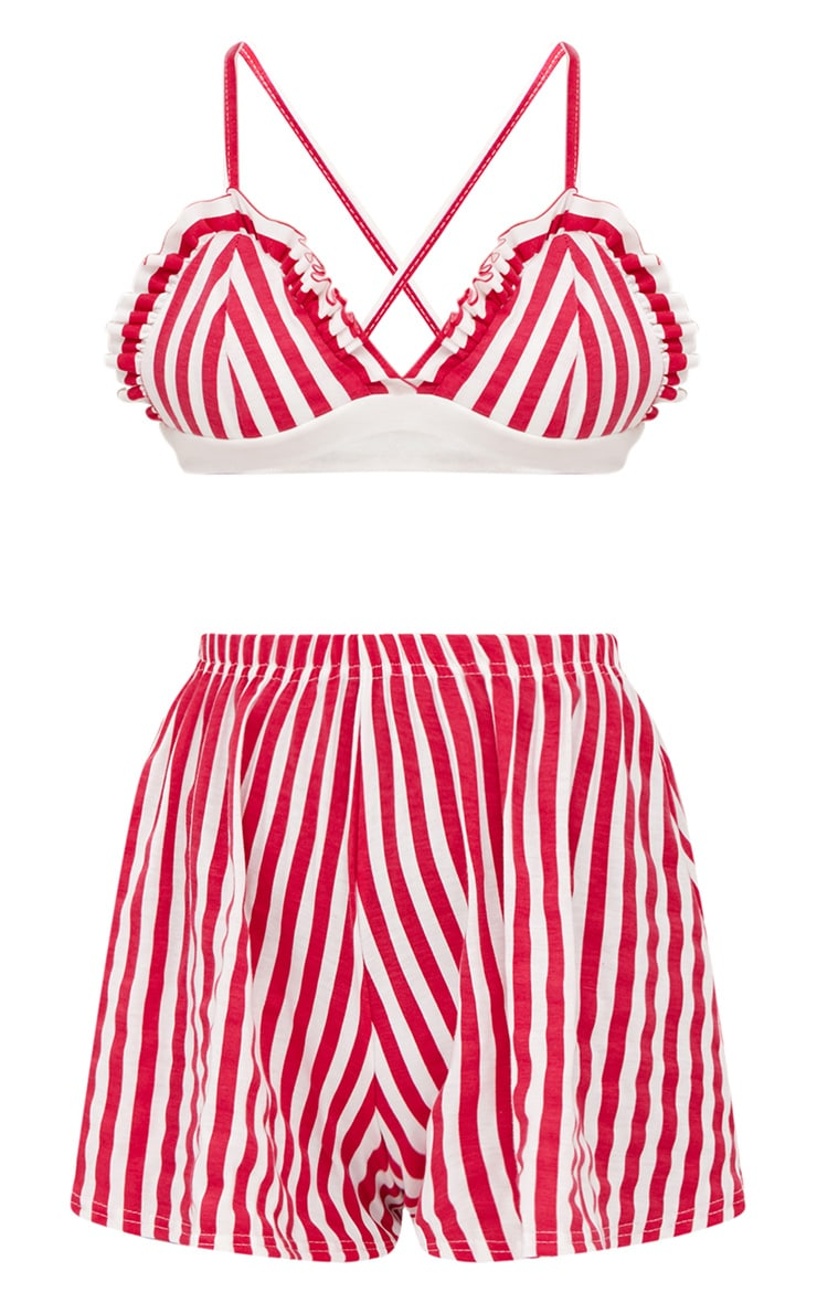 Red Striped Bralet And Short Set 3