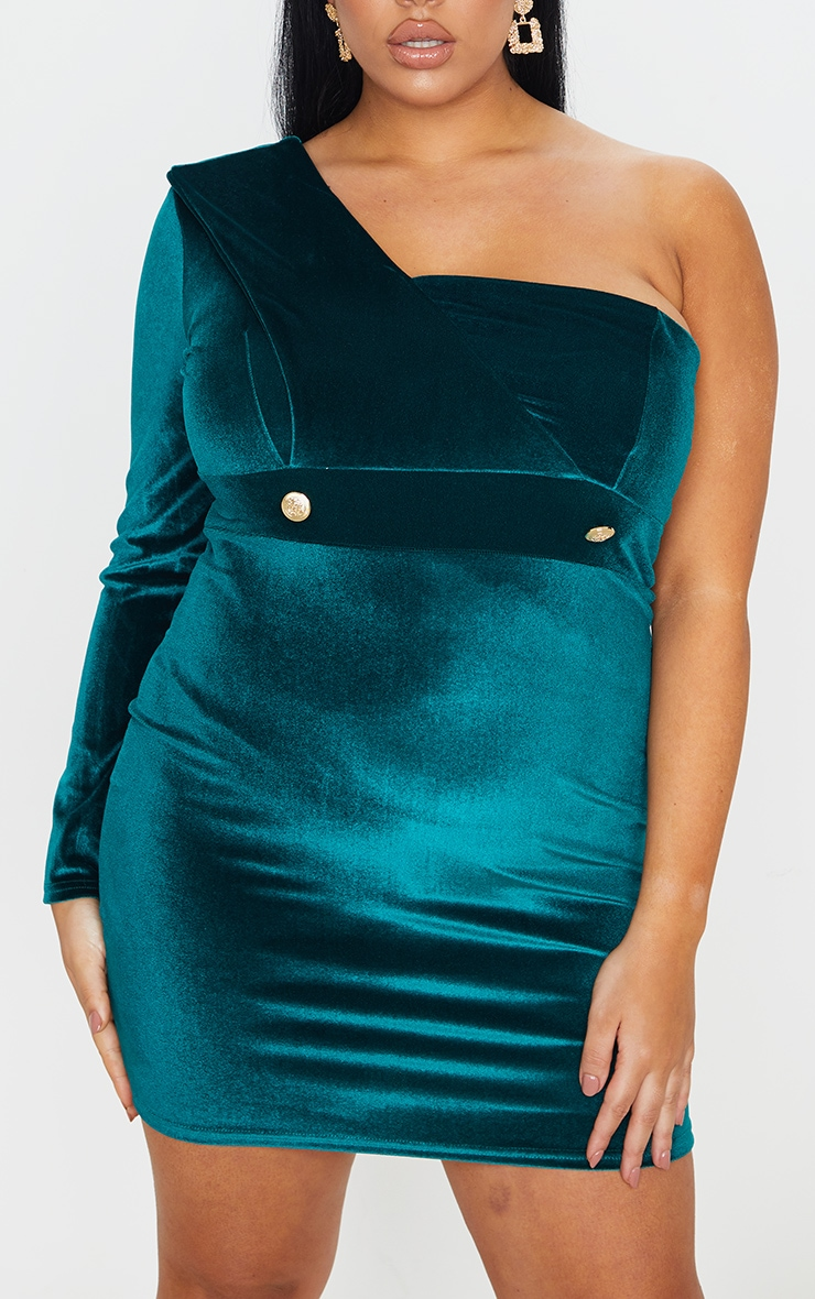 Plus Emerald Green Velvet One Shoulder Blazer Dress 4