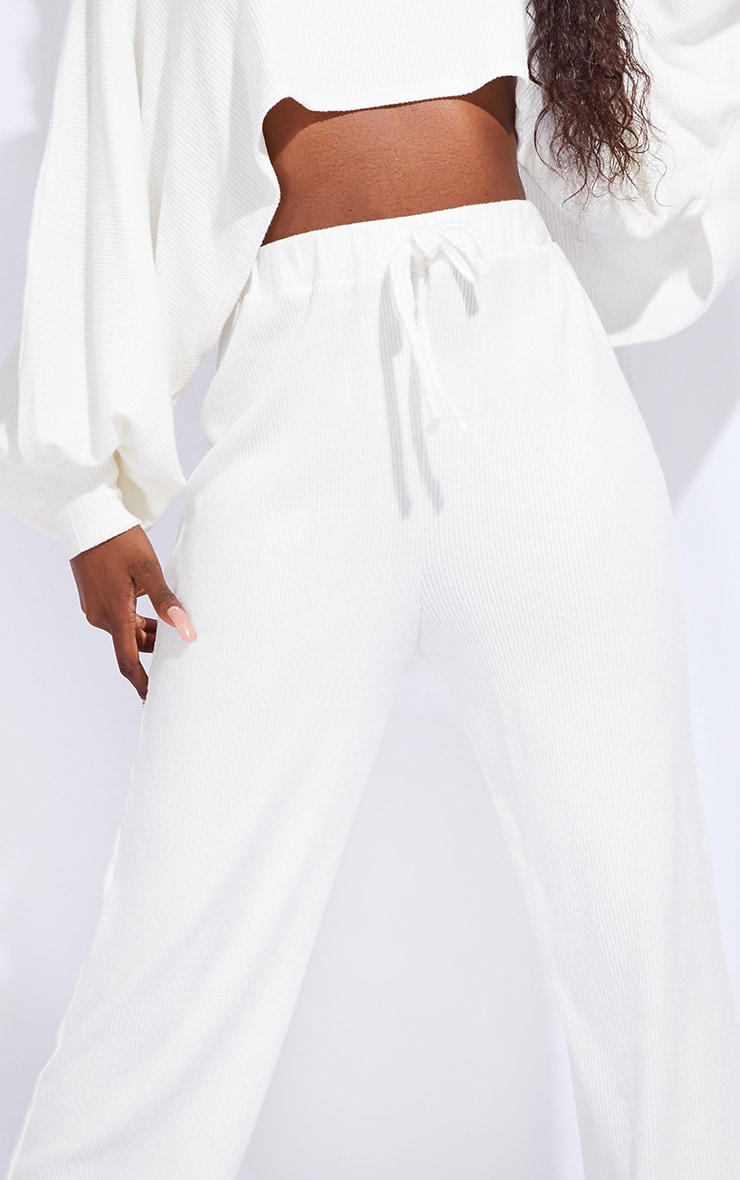 Tall Cream Ruched Waist Brushed Rib Wide Leg Trousers 4