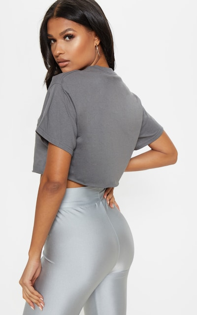 Charcoal Ultimate Oversized Crop T Shirt