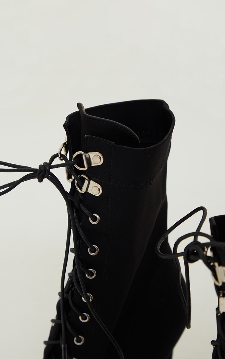 Black Lycra Lace Up Pointed Toe Sock Boots 4