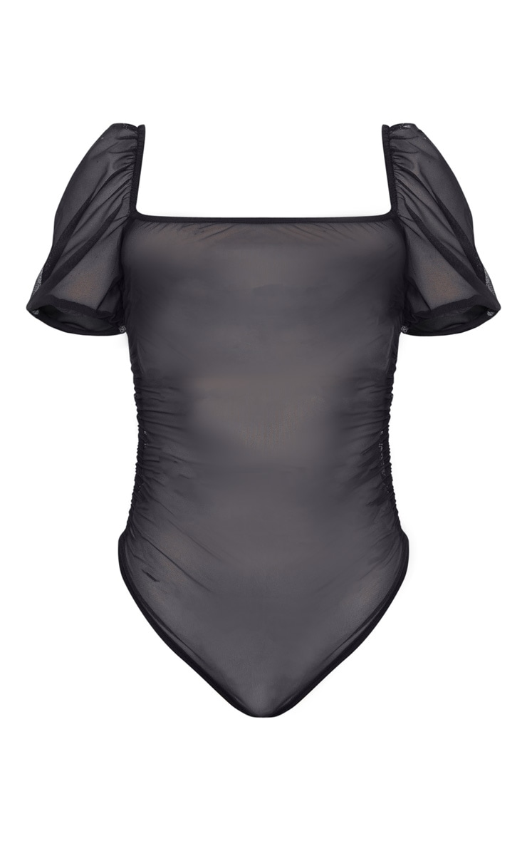 Black Sheer Ruched Side Seam Bodysuit 3