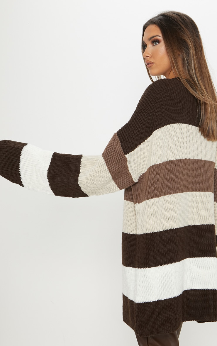 Stone Striped Knitted Cardigan  2