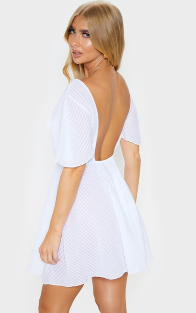 White Striped Cheesecloth Tie Front Beach Dress