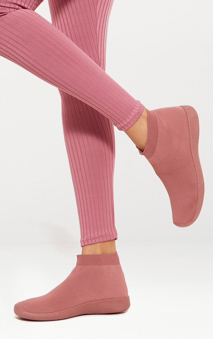 Dusty Pink Knit Sock Trainers 6