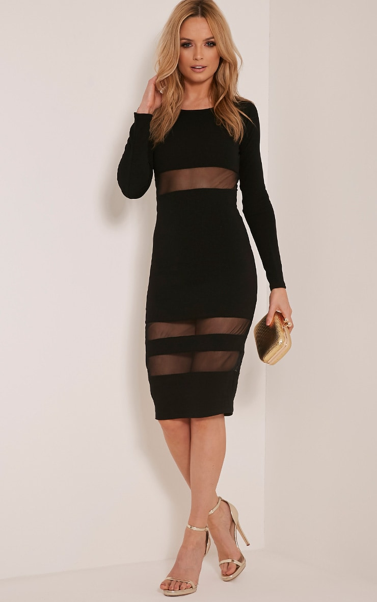 Kaycee Black Long Sleeve Mesh Panel Midi Dress 1