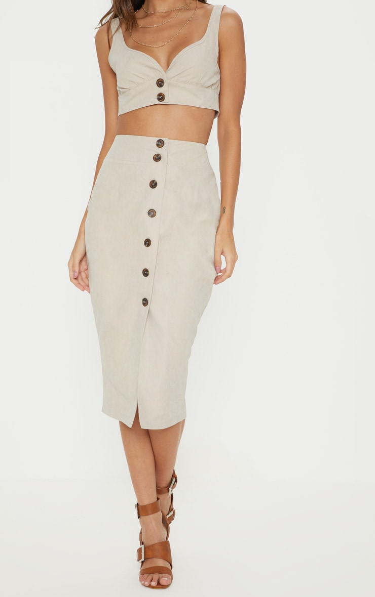 Stone Faux Suede Button Front Midi Skirt 2