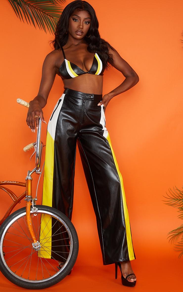 Pantalon ample en similicuir noir à rayures 2
