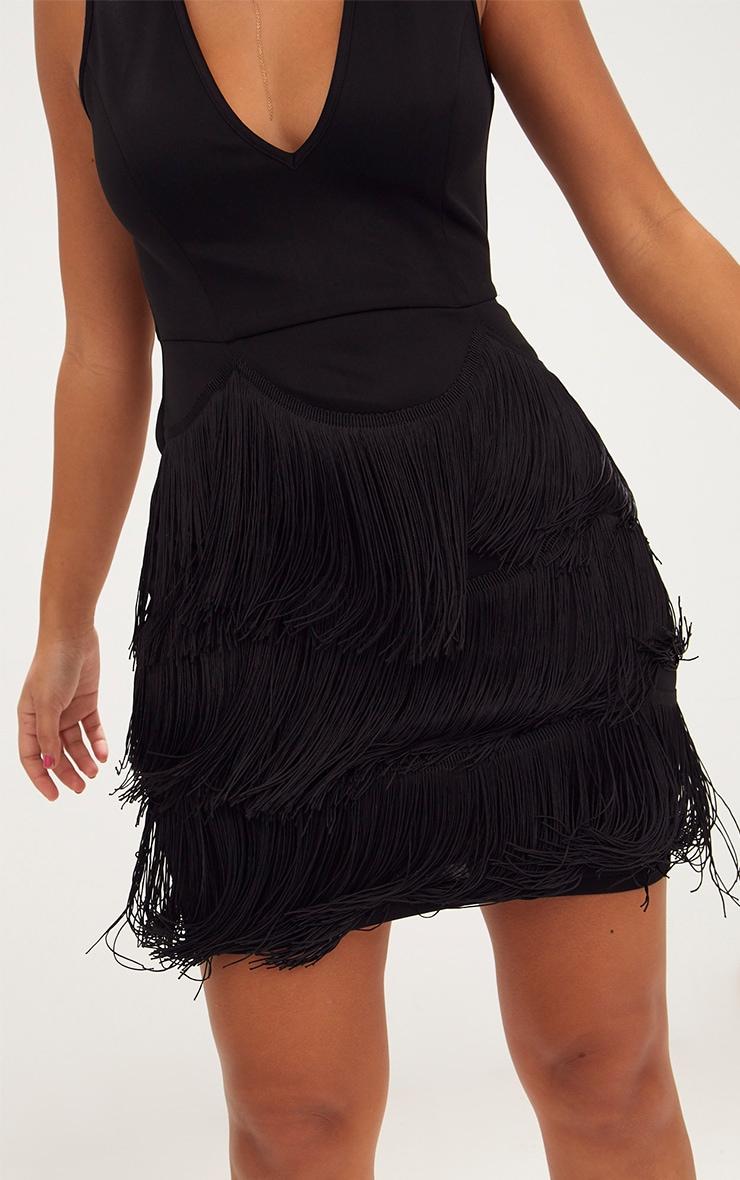 Black Plunge Tassel Skirt Bodycon Dress  5