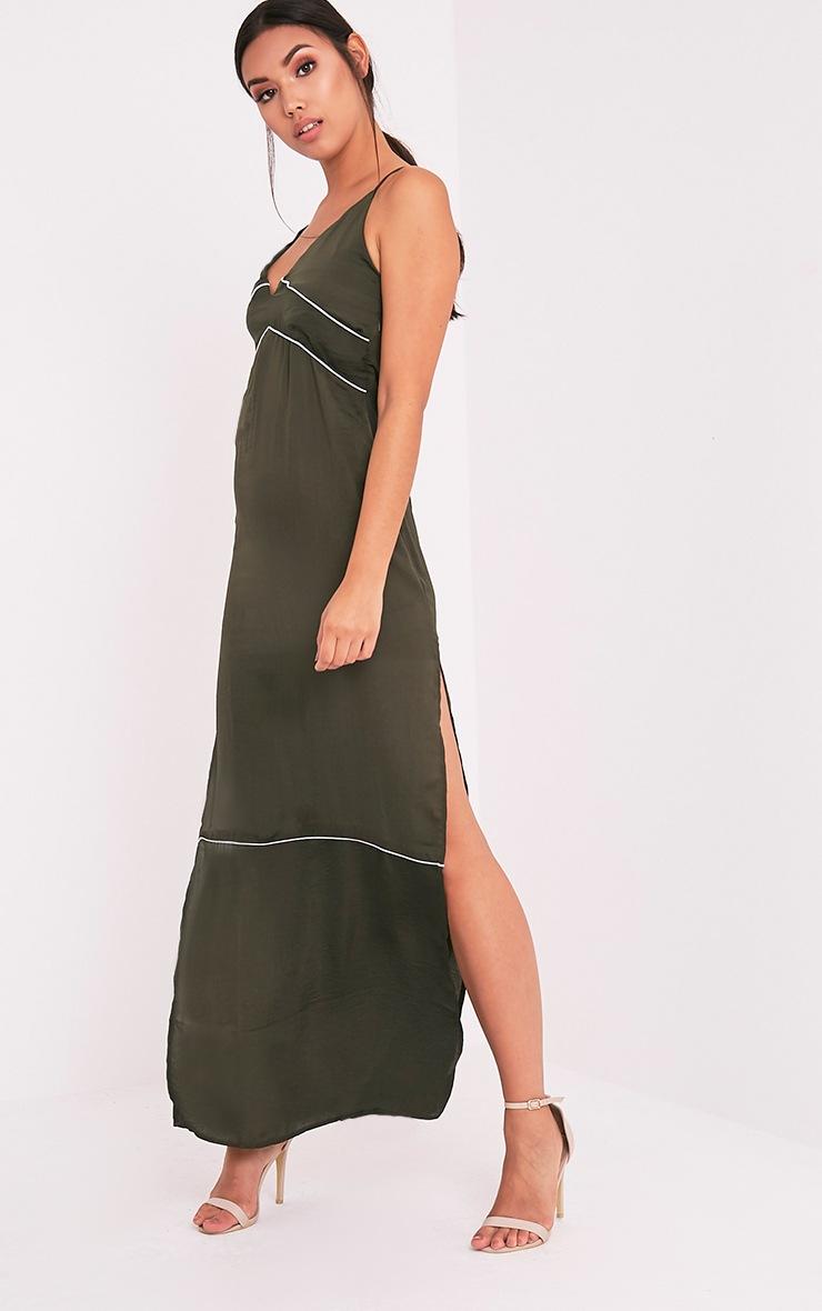Learna Khaki Maxi Plunge Back Slip Dress 1