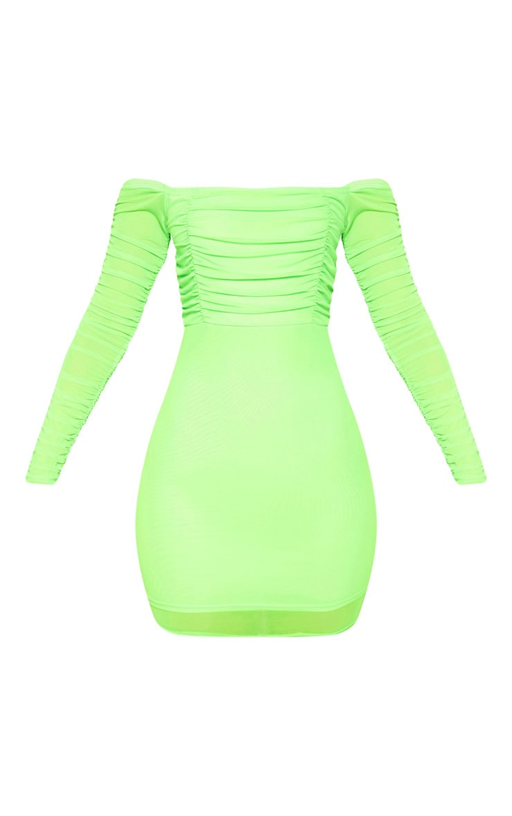 Lime Ruched Mesh Bardot Bodycon Dress 3