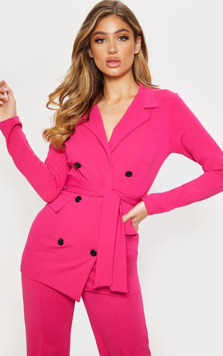 Pink Crepe Belted Longline Blazer 1