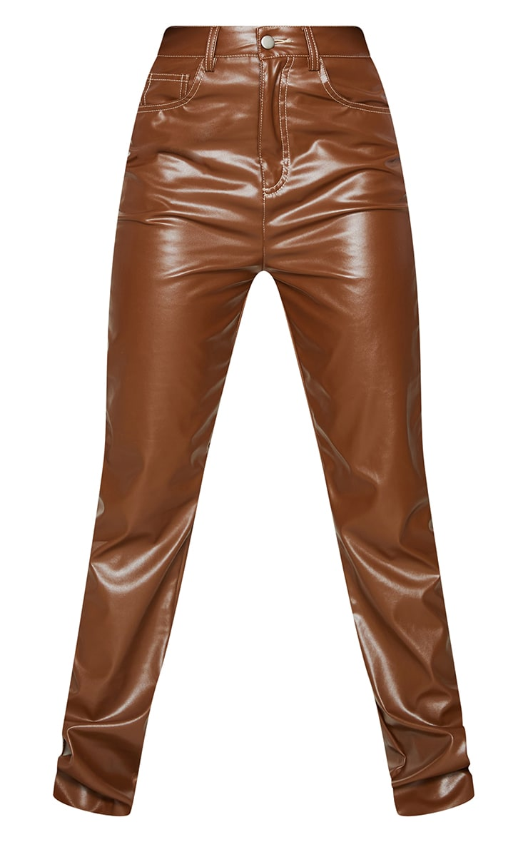 Chocolate Faux Leather Contrast Stitch Straight Leg Pants 5