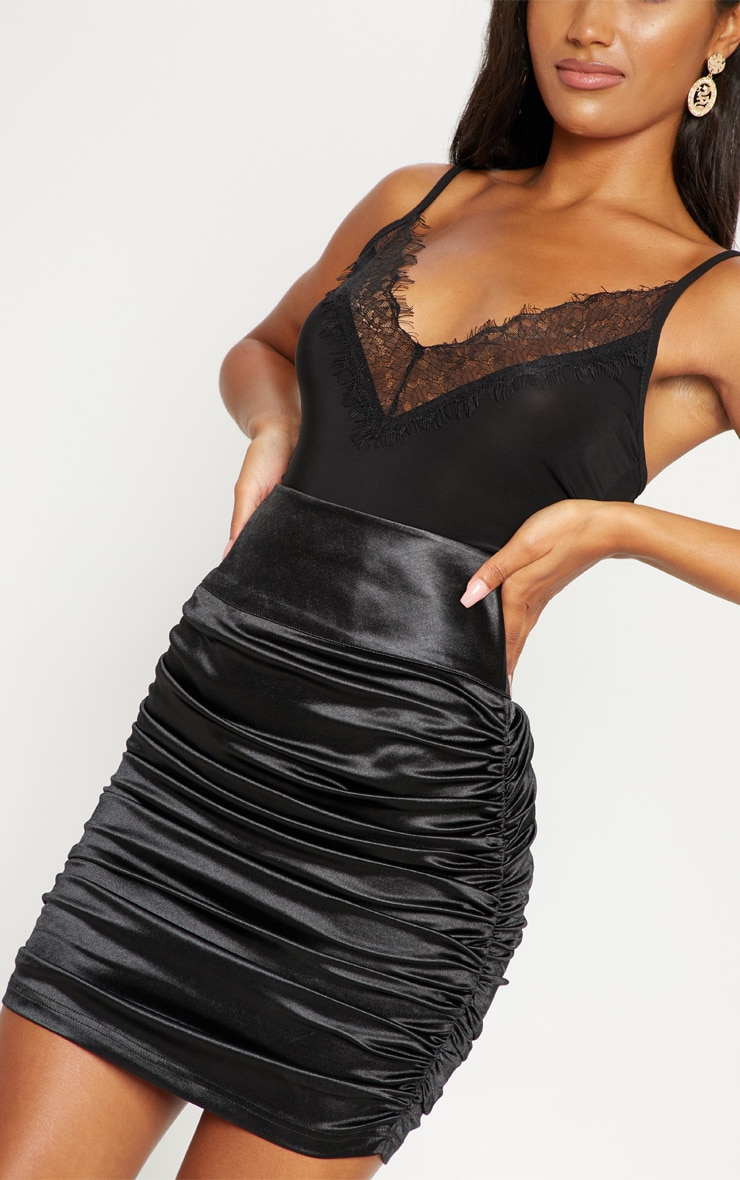Black Satin Ruche Side Detail Mini Skirt 5