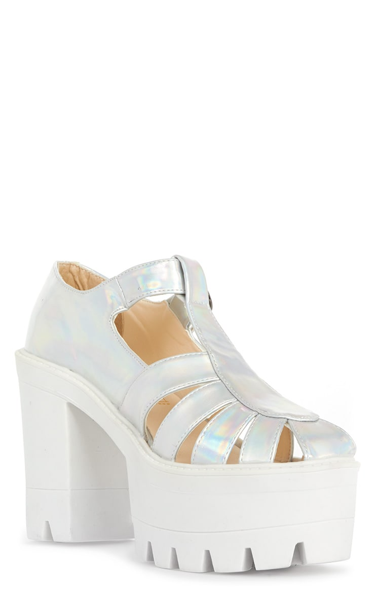 Jamiya Silver Holographic Cut Out Heeled Sandals  3