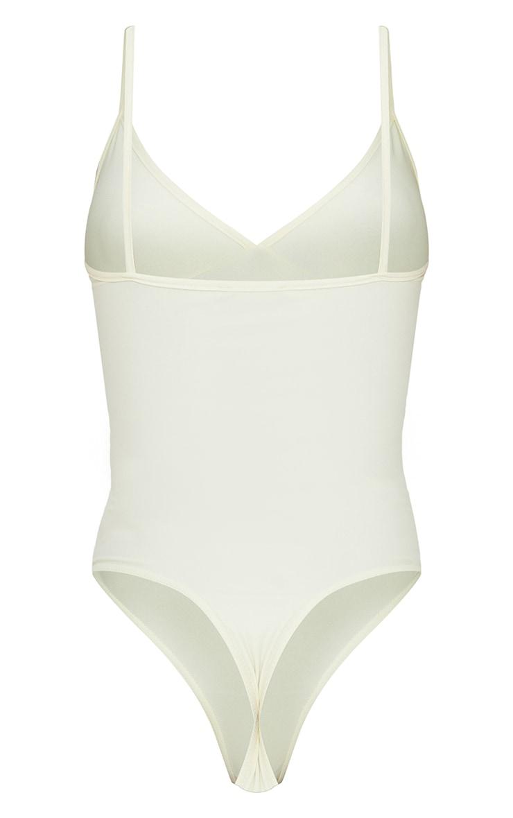 Cream Stretch Slinky Cup Detail Strappy Bodysuit 6