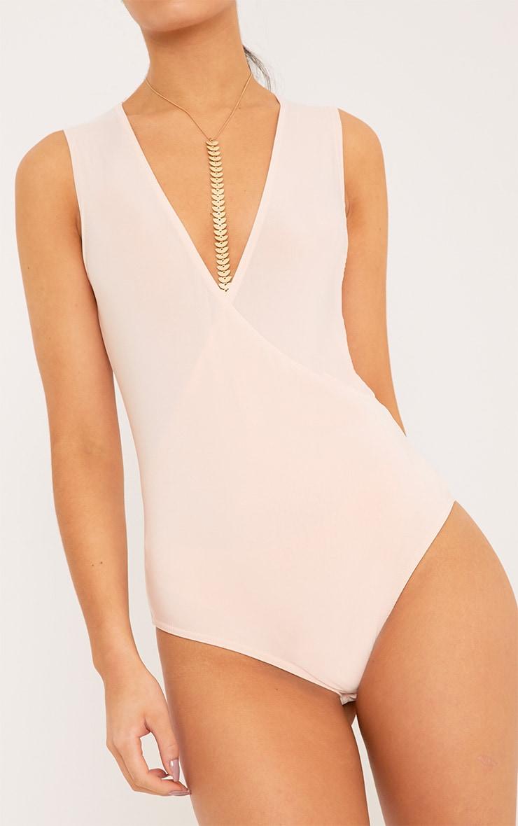 Sicily Nude Sleeveless Cross Over Bodysuit 6