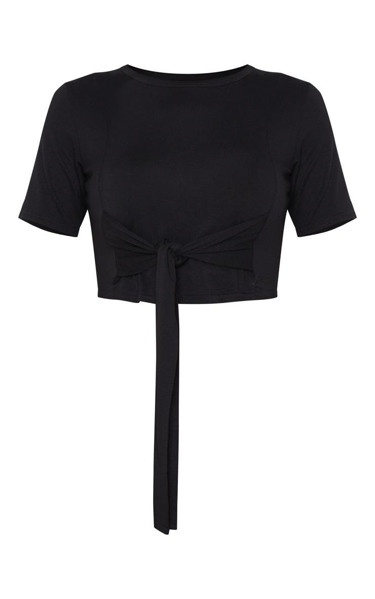 PRETTYLITTLETHING Black Sport Tie Front Jersey Tshirt 5