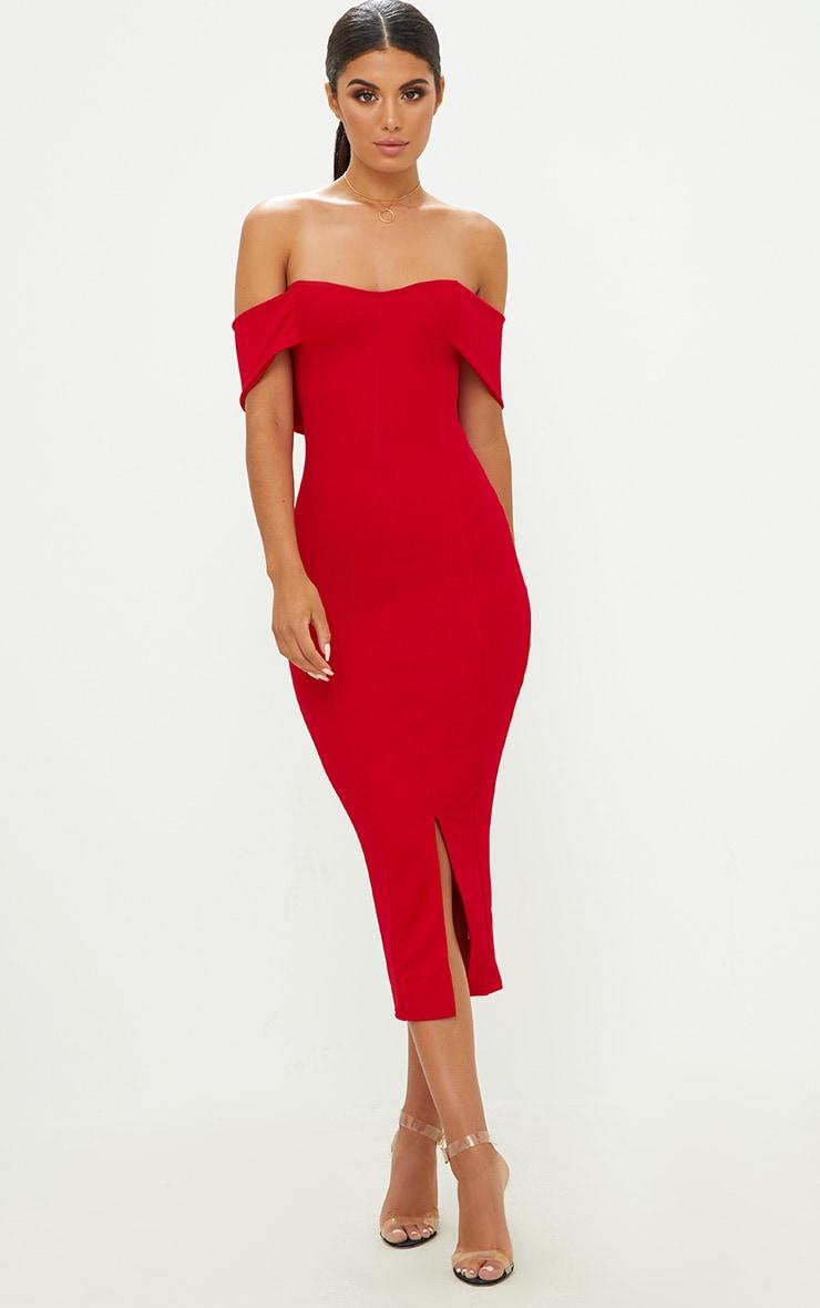 Red Longline Bardot Midi Dress 4