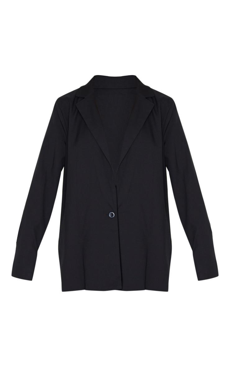 Black Oversized Boyfriend Fit Woven Blazer 7