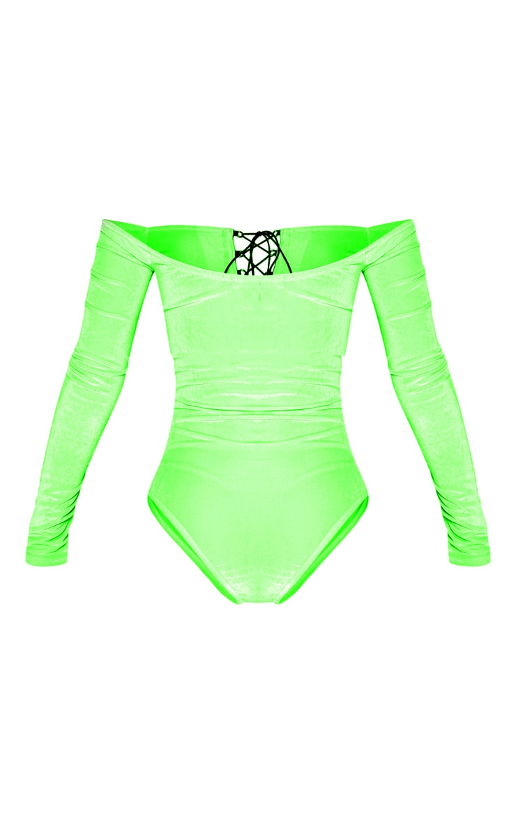 Neon Lime Velvet Lace up Ruched Bardot Bodysuit 4