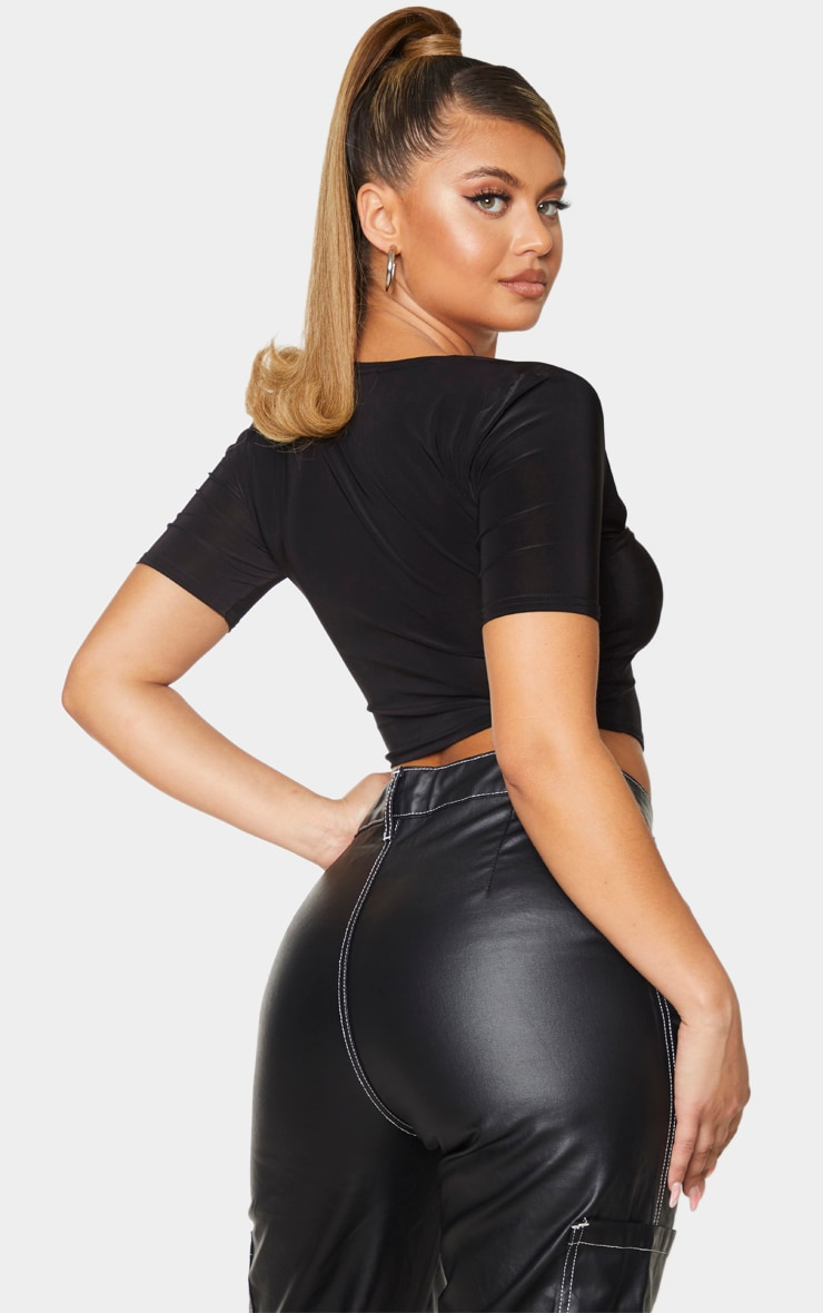 Black Slinky Asymmetric Short Sleeve Crop Top 2