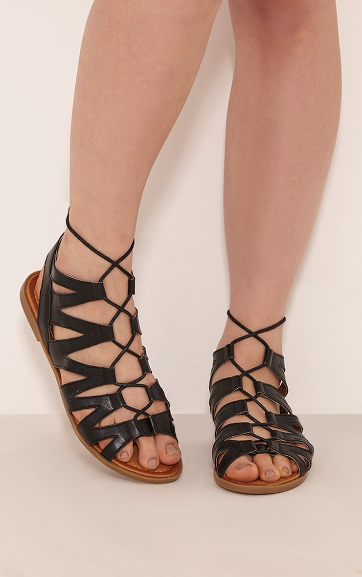 Brielle Black Cut Out Gladiator Sandals 2