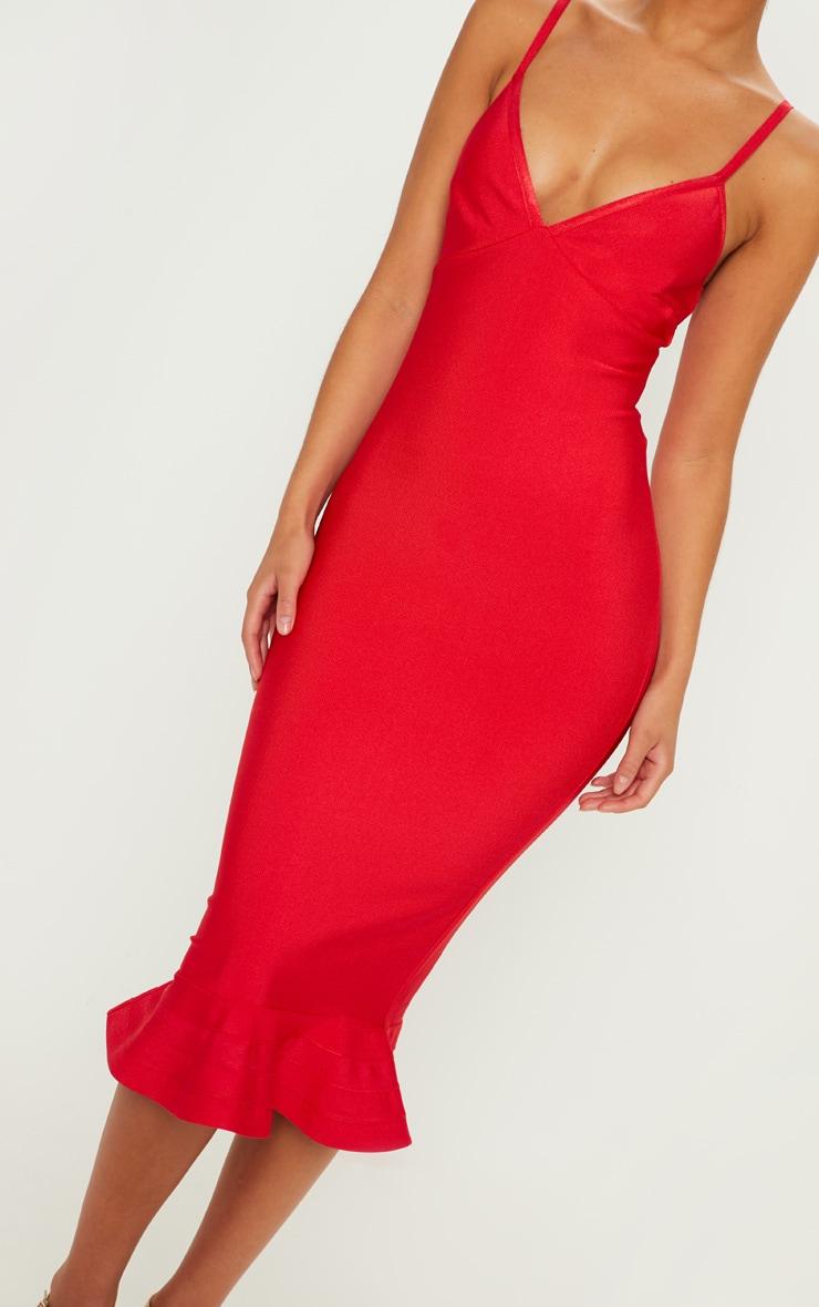 Red Bandage Strappy Frill Hem Midi Dress 5