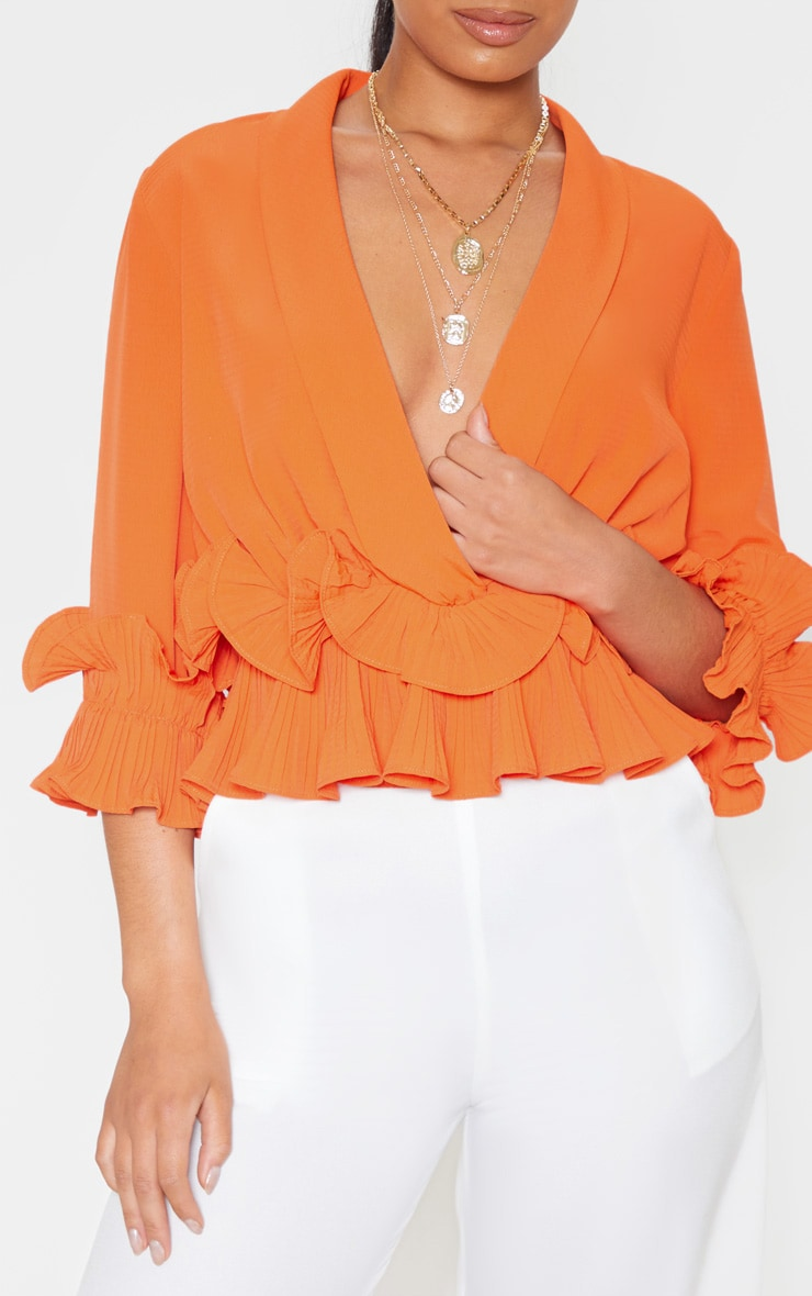 Orange Frill Detail Pleated Blouse 5