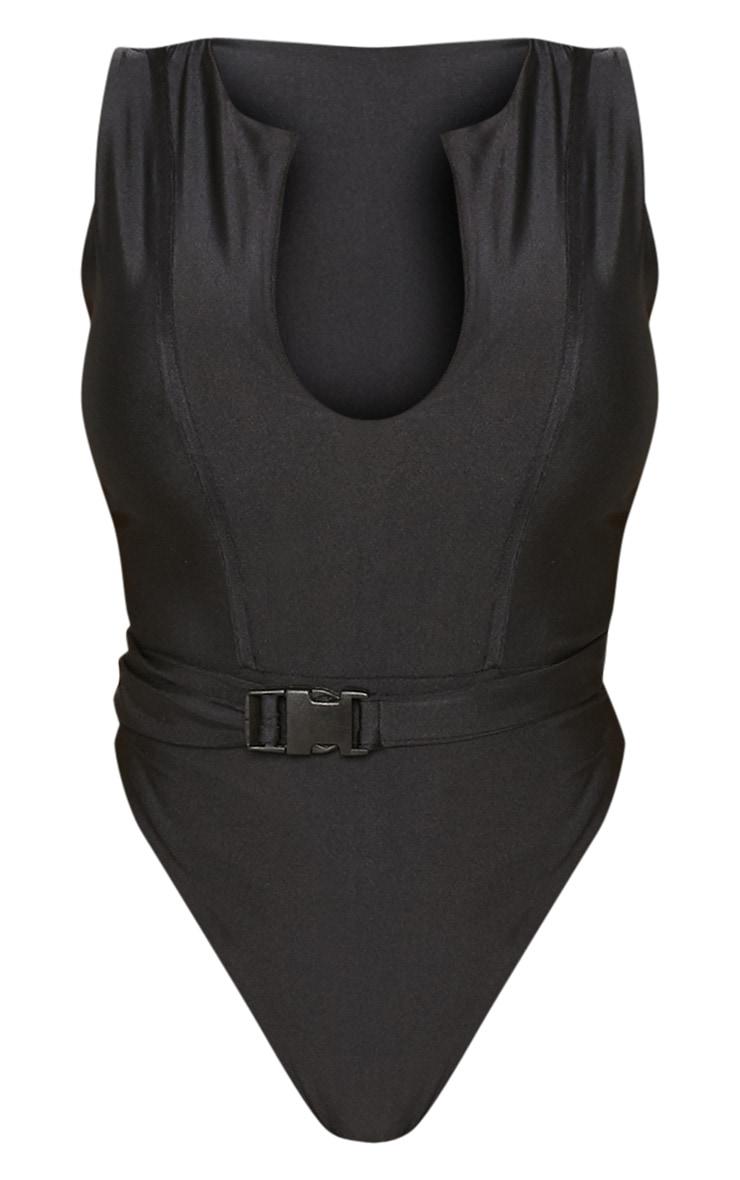Shape Black V Neck Buckle Waist Swimsuit 3