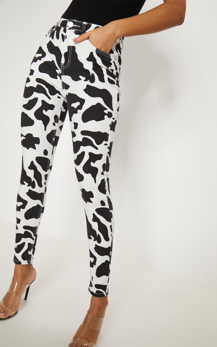 Cow Print 5 Pocket Skinny Jean 5