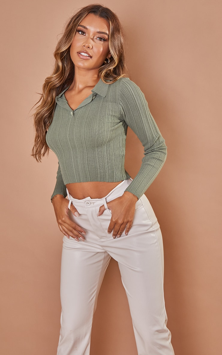Khaki Sheer Knit Button Up Collared Top 3