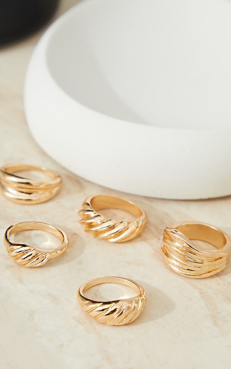 Gold 5 Assorted Chunky Ring Pack 2