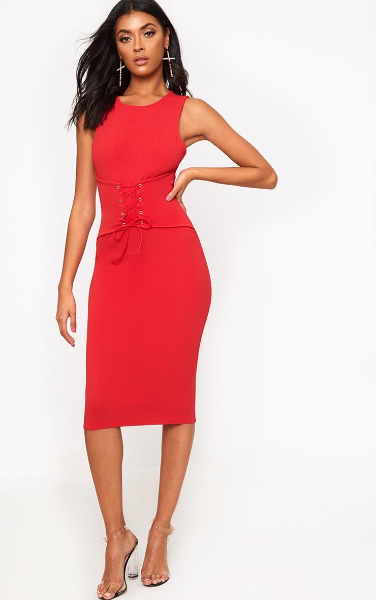Red Corset Detail Midi Dress 4