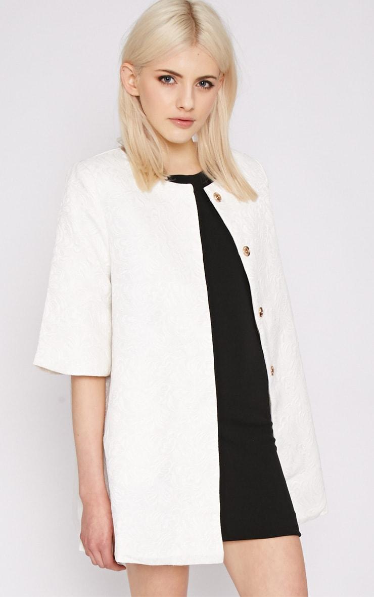 Cleo White Jacquard Bell Coat  1