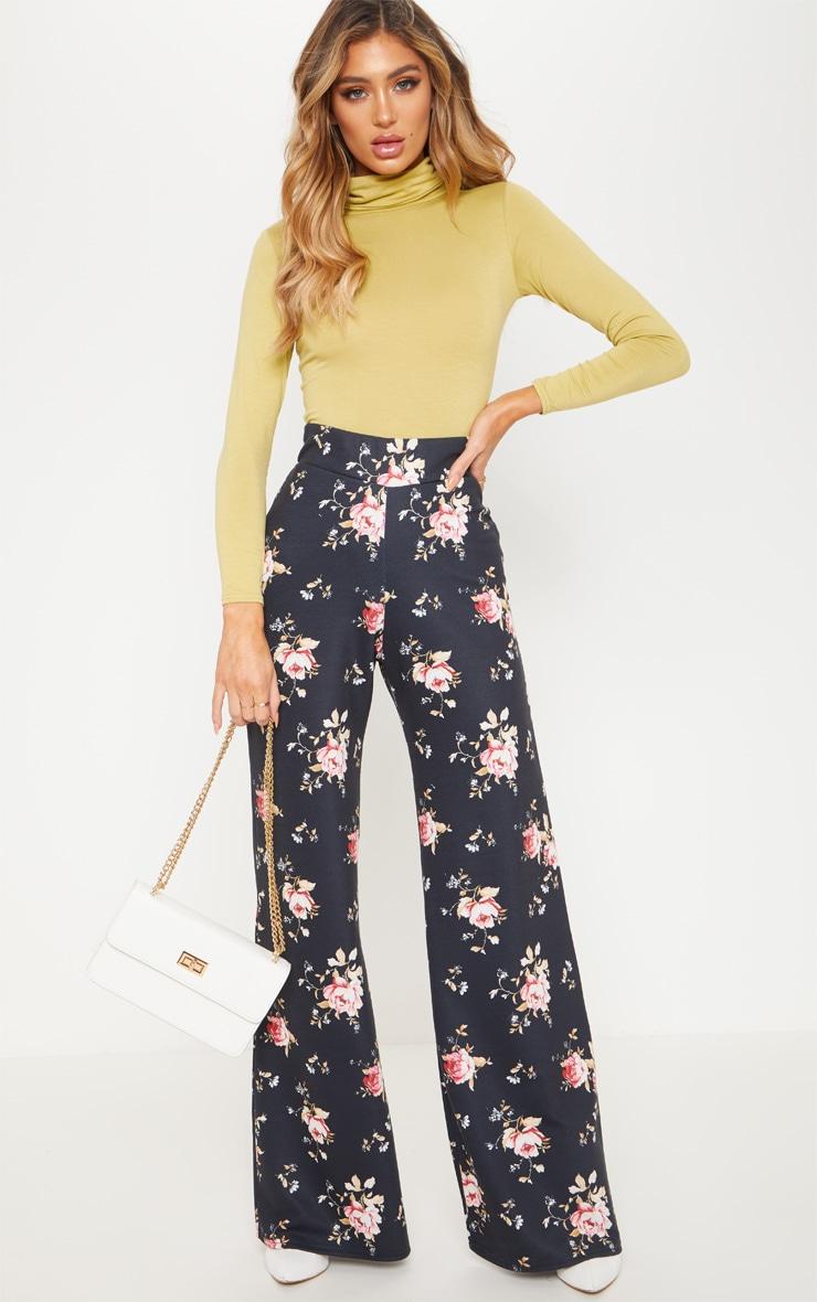 Black Jersey Floral Wide Leg Trouser