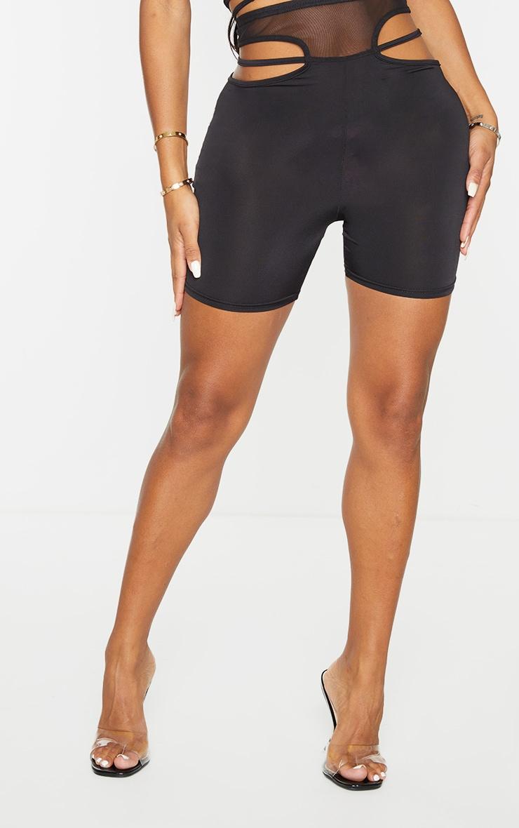 Shape Black Mesh Insert Cut Out Side Bike Shorts 2