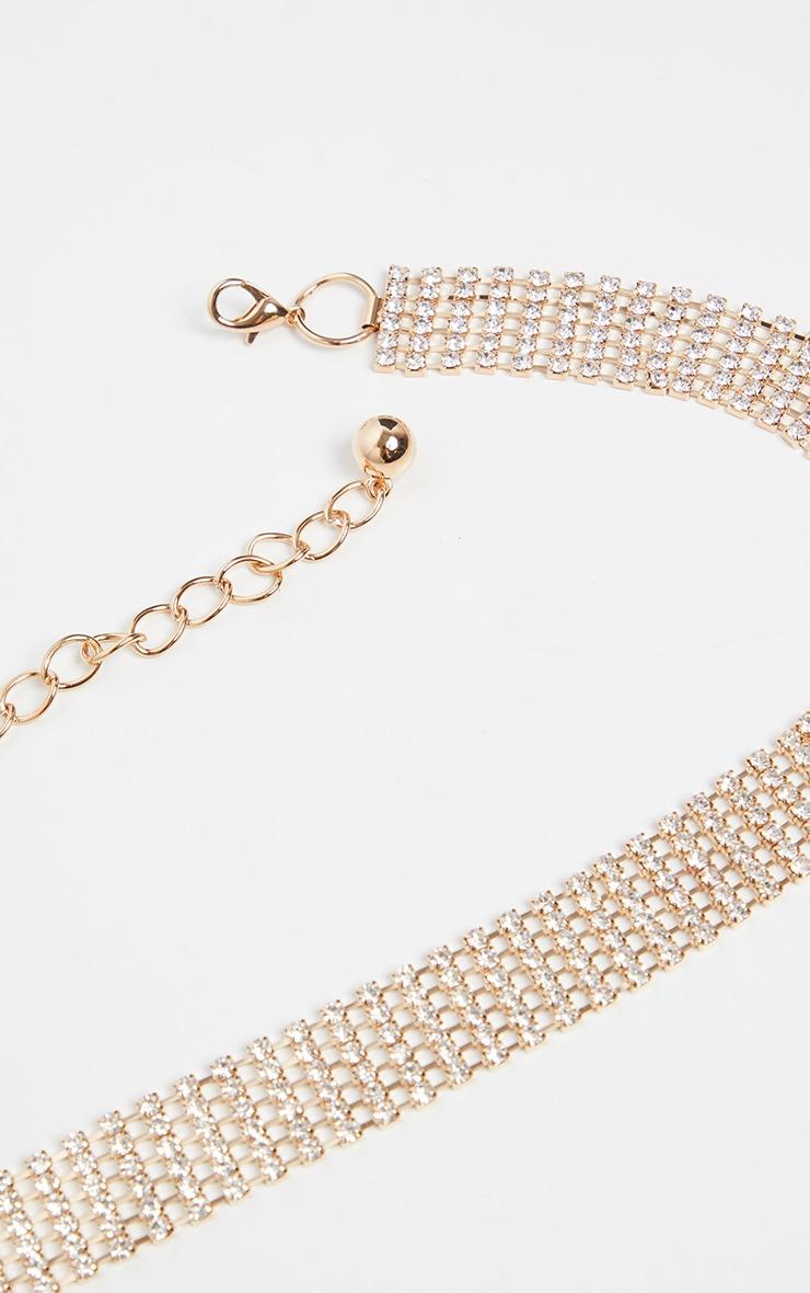 Gold Skinny Diamante Chain Belt 3