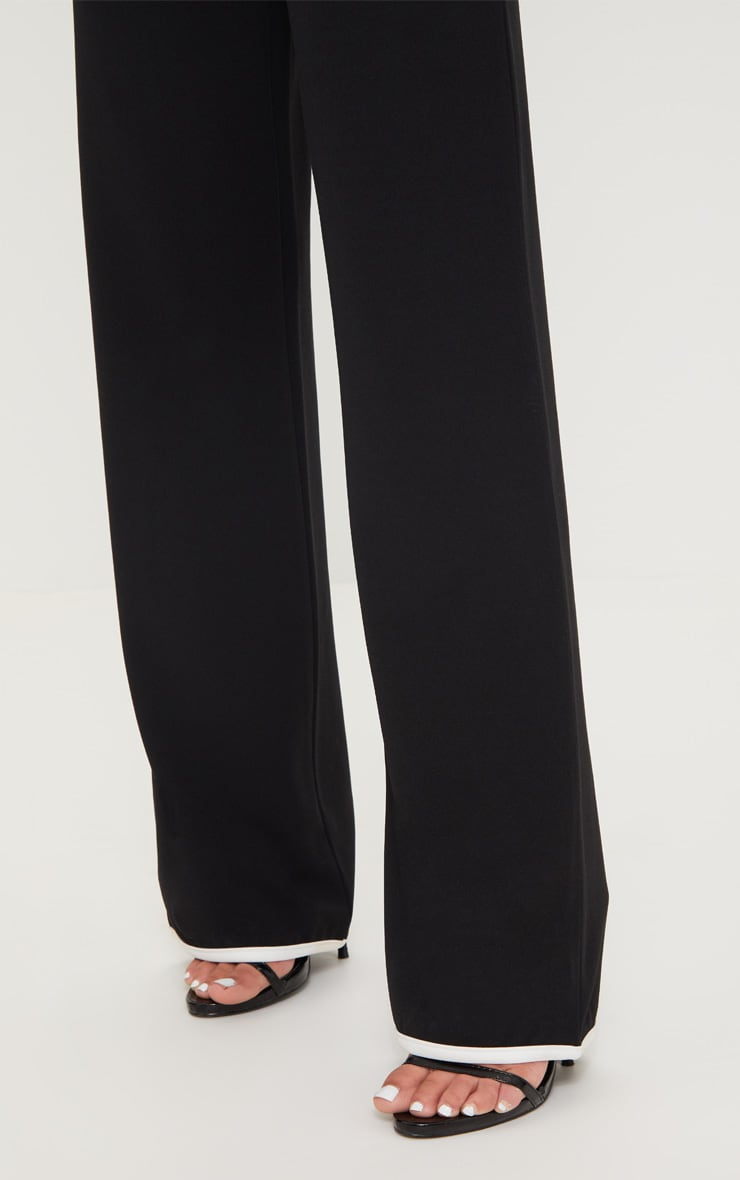 Petite Black Binding Detail Wide Leg Trouser 5