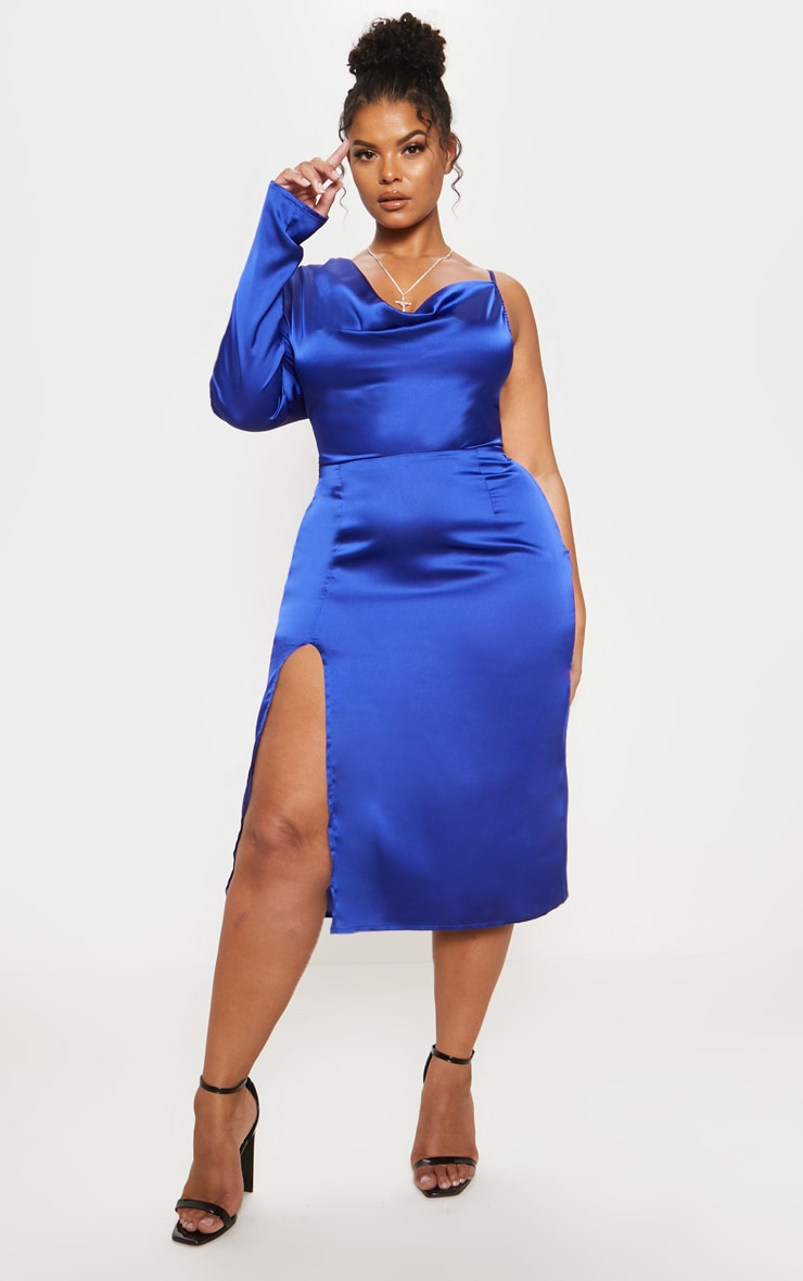Cobalt Satin Cowl Neck Extreme Split Midi Dress
