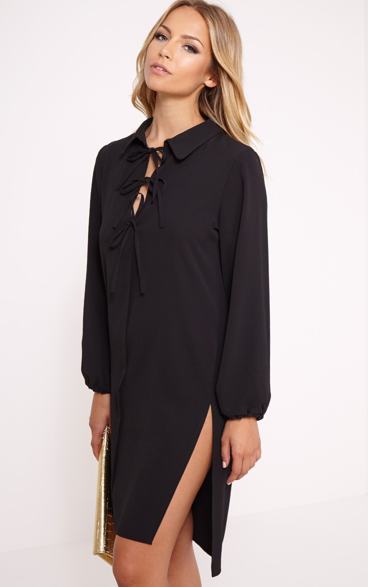 Jennifer Black Lace Up Extreme Split Tunic Dress 1