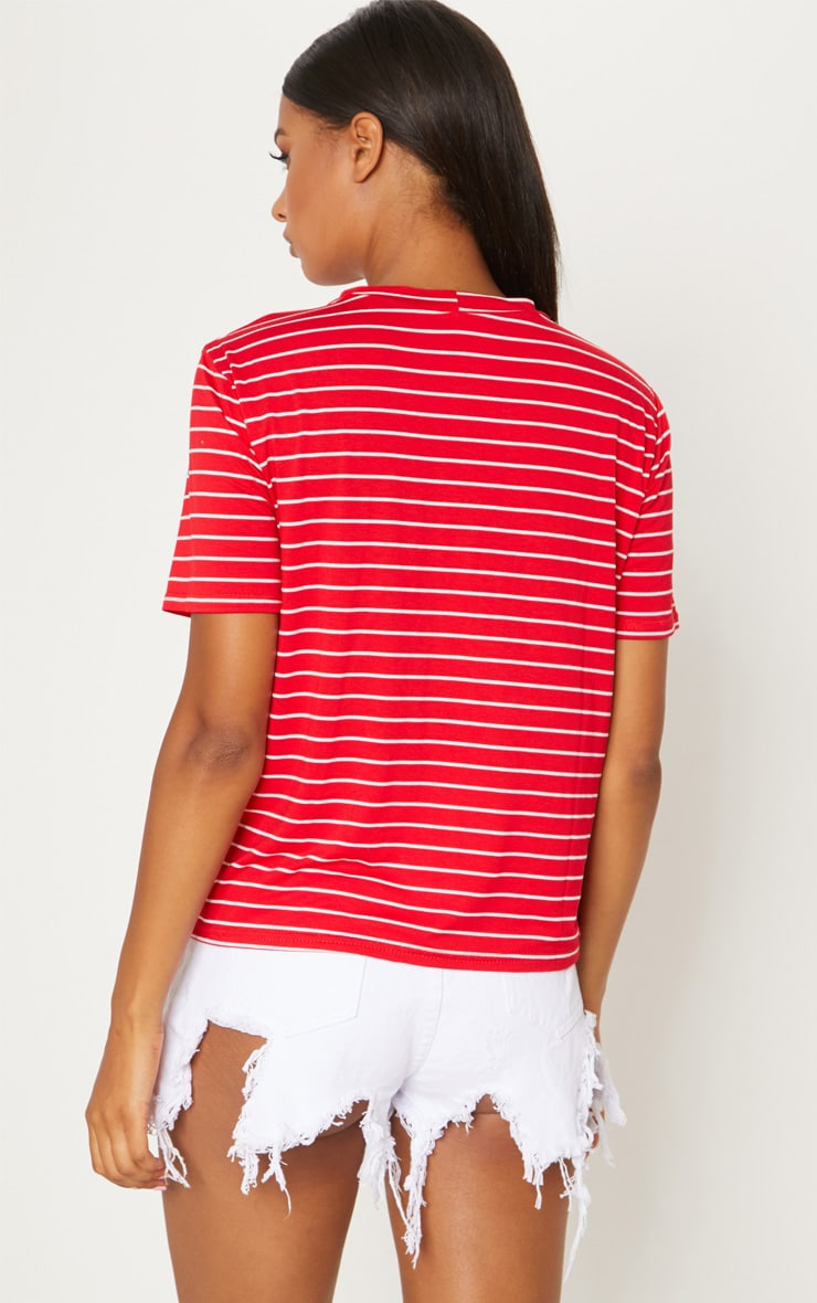 PRETTYLITTLETHING Red Embroidered Slogan Stripe T Shirt 2