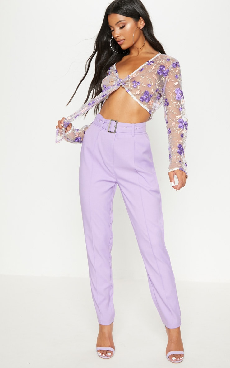 796e7821f8a968 Lilac Belted Tailored Trousers | PrettyLittleThing