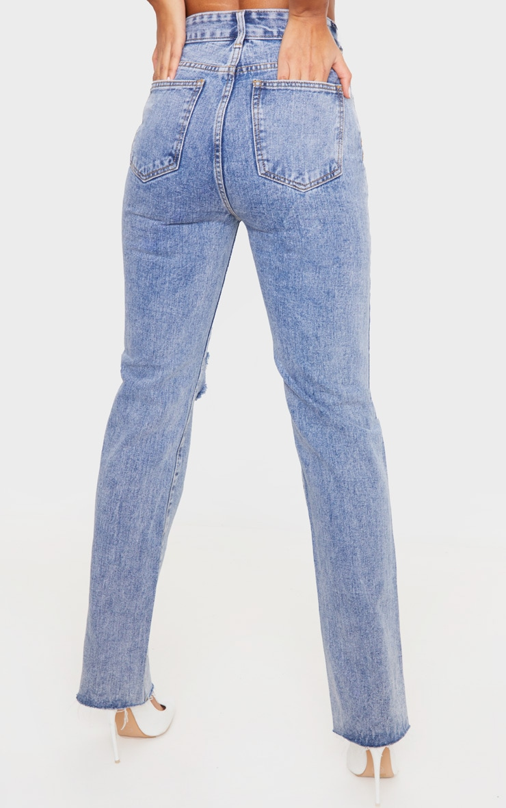 Vintage Wash High Rise Distressed Straight leg Jeans 4