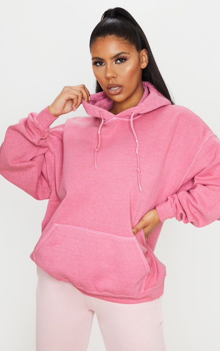 Pink Washed Oversized Hoodie 1