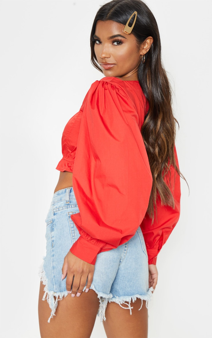 Red Puff Sleeve Crop Top 2