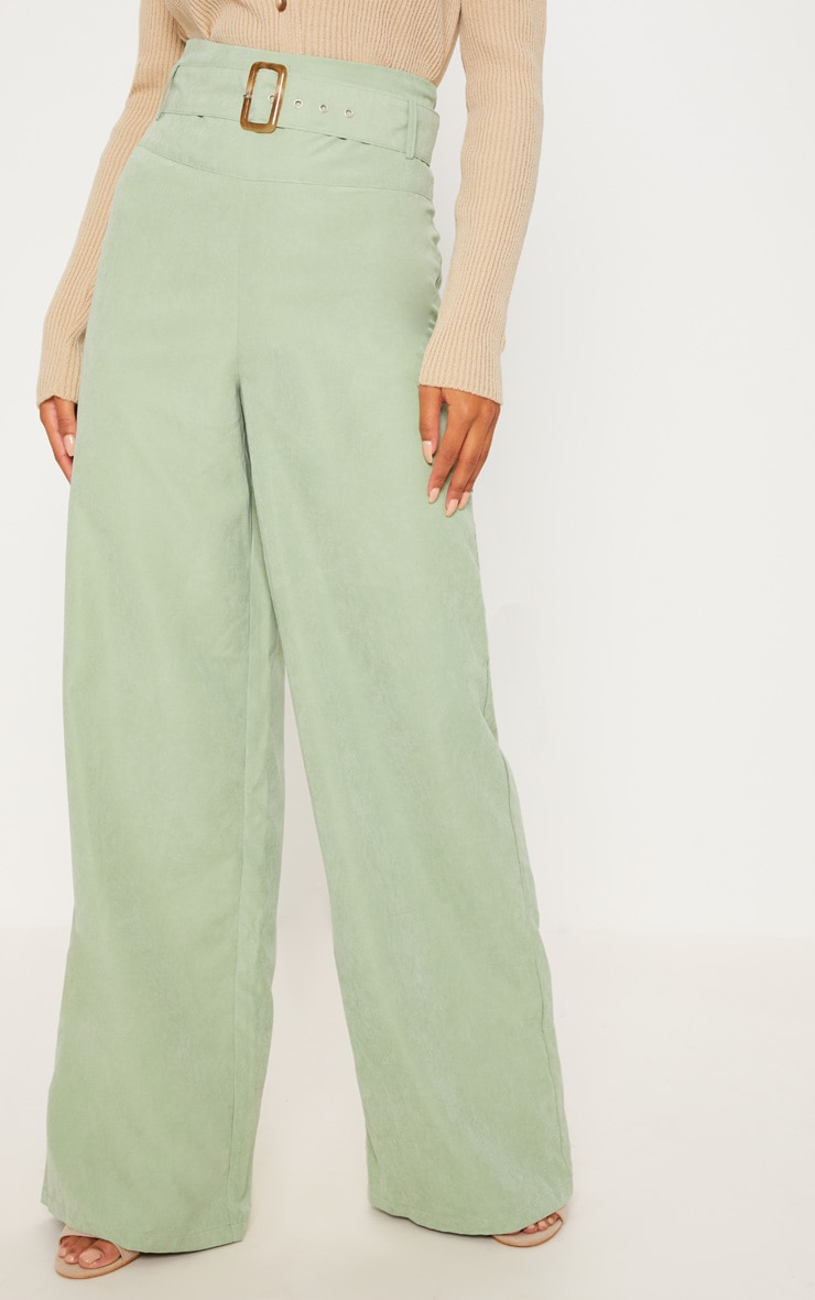 Sage Green Faux Suede Belted Wide Leg Pants 2