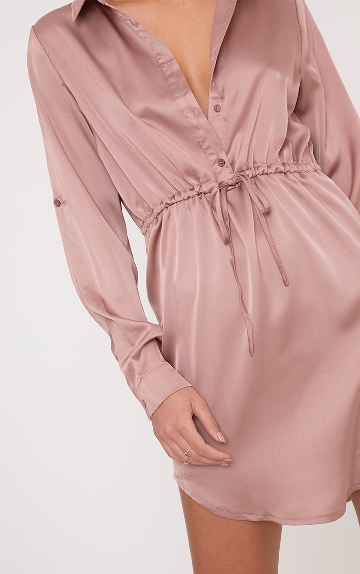 Amanda Mink Tie Waist Satin Shirt Dress 5